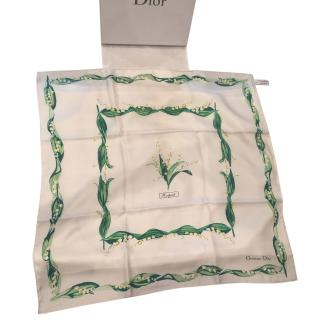 Christian Dior Silk Lily Of The Valley Scarf