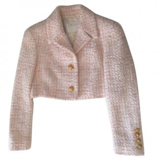 Escada Couture pink tweed cropped jacket