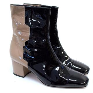 Dorateymur For Osman Patent Ankle Boots In Nude And Black