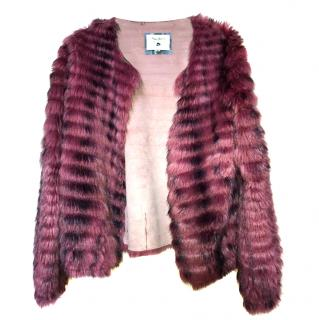 Pepe Jeans Pink and Black Faux Fur Jacket