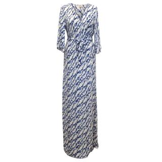 Ba&sh Blue And White Maxi Wrap Dress