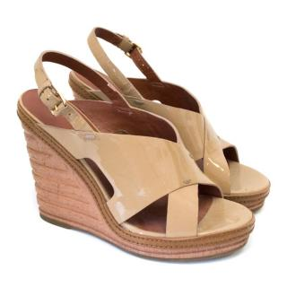 Marc by Marc Jacobs Patent Camel Wedges With Ribbed Wedge