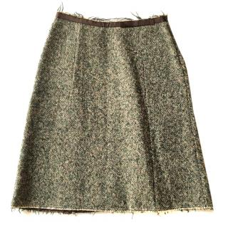 Marni tweed wool mix skirt with satin hem