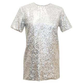 Nina Ricci Silver Sequined Voile Top