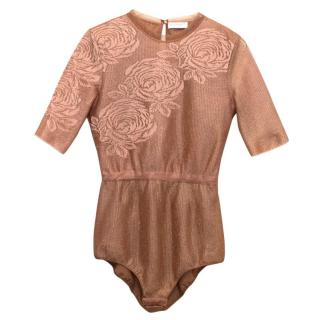 Vionnet Mesh Copper Bodysuit With Embroidered Roses