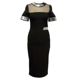 Mugler Black Bodycon Dress With Chrome Trims