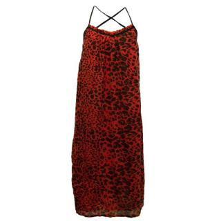 Ba&Sh Red Leopard Print Dress With Crossover Straps