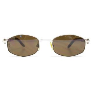 Cartier Silver Octagon Sunglasses With Wood Arms