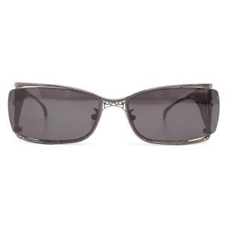 Judith Leiber 'JL1557' Rectangle Black Encrusted Arm Sunglasses