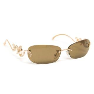 Judith Leiber 'JL1528' Small Sunglasses With Gold And Pearl Arms