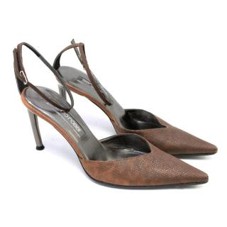 Sergio Rossi Brown Ankle Strap Heels