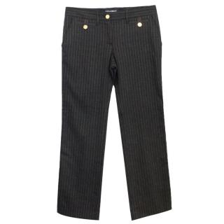 Dolce&Gabbana Brown Wool Straight Leg Trousers With Gold Buttons