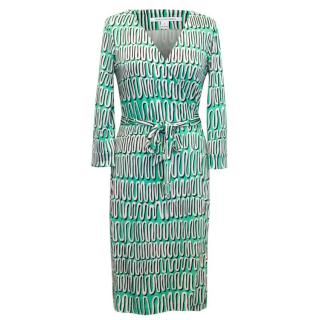Diane Von Furstenberg Green And White Wrap Dress