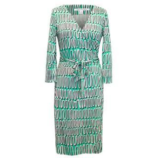 Diane Von Furstenberg Green And White Wrap Dress
