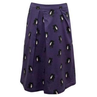 Osman Purple Patterned A-Line Skirt