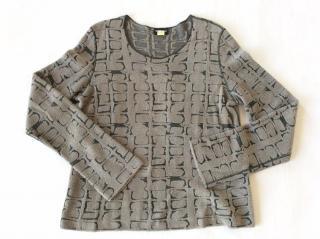 Giorgio Armani Black Label khaki and beige round neck sweater
