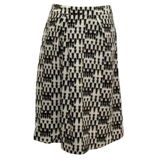 Osman Black And White Wool A-Line Skirt