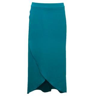Osman Light Blue Silk Wrap Skirt