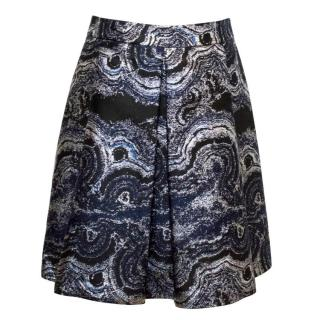 Osman Black, Navy And Metallic Silver A-Line Skirt