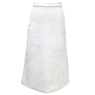 Osman Off White Textured Long A-Line Skirt
