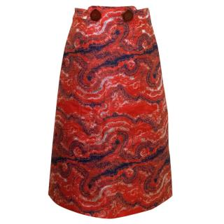 Osman Red With Metallic Silver A-line Midiskirt