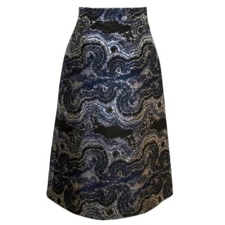 Osman Black, Navy And Metallic Silver A-Line Midi Skirt
