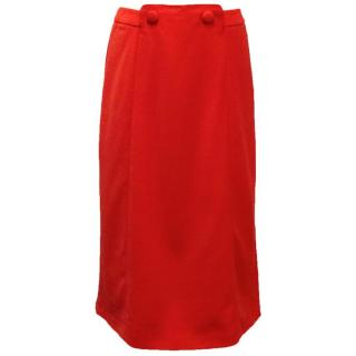 Osman Red Midi Skirt With Two Button Detail