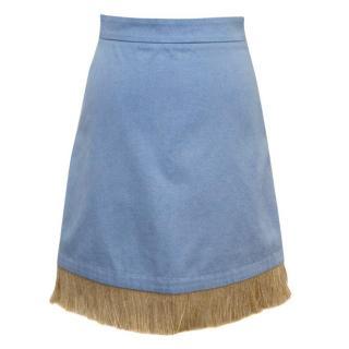 Osman 'Holliday' F/W 15 Blue Denim Skirt With Brown String Trim