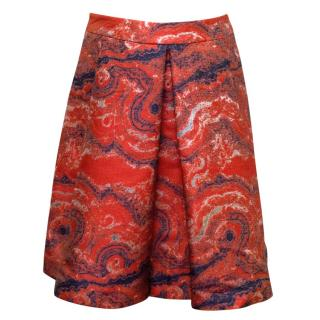 Osman Red With Metallic Silver A-line Pleated Skirt