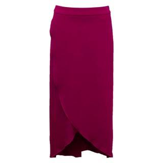 Osman Magenta 'Misae' Wrap Skirt