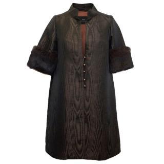 Birger et Mikkelsen Brown Coat With Fur Sleeves