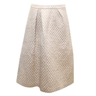 Osman 'Chenoa' gold quilted midi skirt