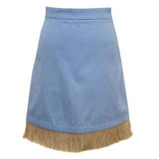Osman 'Holliday' F/W 15 Blue Denim Skirt With Straw Trim