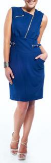 Versus Versace Blue Dress with Gold Zips
