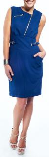 Versus Versace Blue Dress with Gold Zips