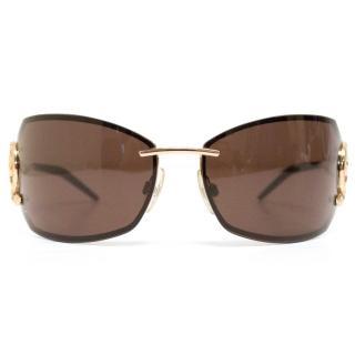 Roberto Cavalli Brown Sunglasses With Gold Handles