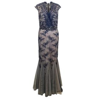 Mikael Aghal Blue Lace Embellished Fishtail Dress