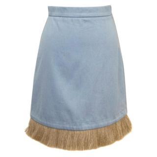Osman 'Holliday' F/W 15 Blue Denim Skirt With Straw Trim