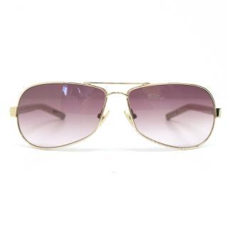 Chrome Hearts Gold Aviator Sunglasses