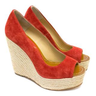 Paloma Barcelo Red Suede 'Mallorca-a' Open Toe Wedge Sandals