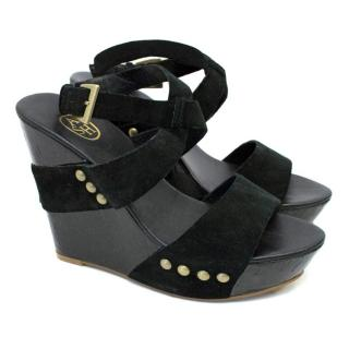 ASH Black Wedge Open Toe Sandal