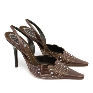 Rene Caovilla Brown Slingback Heels