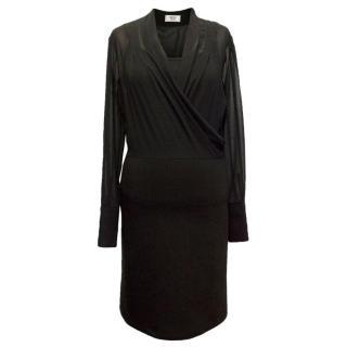 Weill Black Mesh Top Long Sleeved Dress