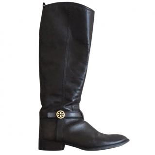 Tory Burch Brown Leather Riding Boots