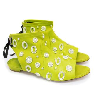Manolo Blahnik Lime Green SS/15 Pearl Flats