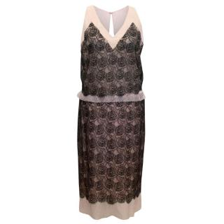 Chanel Black And Pink Lace Sheer Top With Matching Skirt