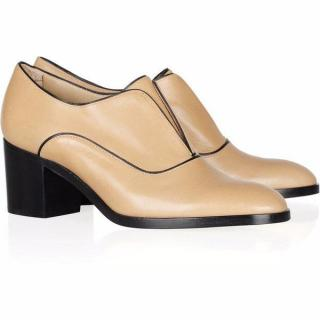 Reed Krakoff camel Oxford leather loafers with heel