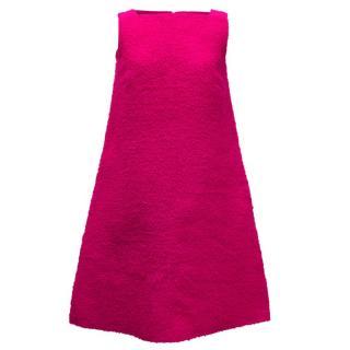 Osman Bright Pink Textured Wool A-Line Dress