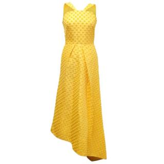 Osman Yellow Asymmetric Calf Length Dress