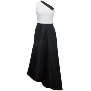 Osman Black And White One Shoulder Asymmetric Dress